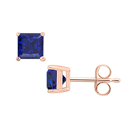 SVC-JEWELS (4MM) Princess Cut Blue Sapphire Solitaire Stud Earrings 14K Rose Gold Over .925 Sterling Silver For Women's & Girls