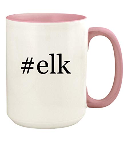 #elk - 15oz Hashtag Ceramic Colored Handle and Inside Coffee Mug Cup, Pink