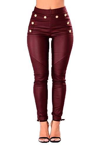 Nihsatin Womens PU Leather High Waisted Leggings Stretchy Skinny Leather Pants Hip Push Up Tights Burgundy