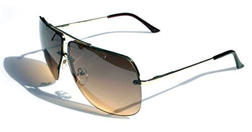 Vision World Eyewear – Limited edition colorful lens rimless metal aviator sunglasses (brown)