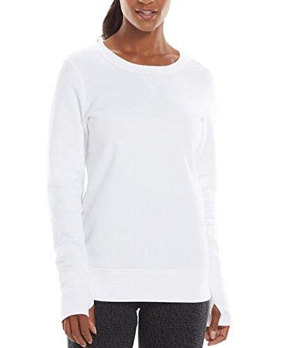 Tek Gear Women's Fleece Crewneck Sweatshirt (New White, Small)