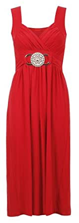 Aislinn Womens Stretchy Buckle Pleated Cocktail Party Dress S/M (UK 8-10) Red