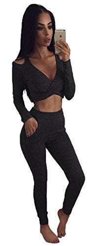ALAIX Womens'Sexy Long Sleeve 2PCS Cut-out Club Jumpsuit Rompers Overall Black-L