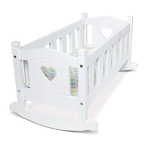 "Melissa & Doug Mine to Love Wooden Play Cradle for Dolls, Stuffed Animals - White (2 Beds, 10.2""H x 18.8""W x 20.7""L Assembled, Great Gift for Girls and Boys - Best for 3, 4, 5 Year Olds and Up)"