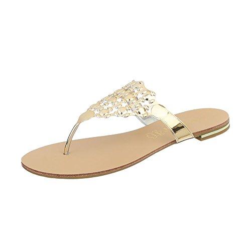 Ital-Design Zehentrenner Damenschuhe Blockabsatz Sandalen & Sandaletten Gold 37-44