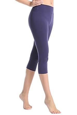 ABUSA Cotton Yoga Capri Pants Women's Tummy Control Workout Leggings Non See-Through Fabric L Deepblue