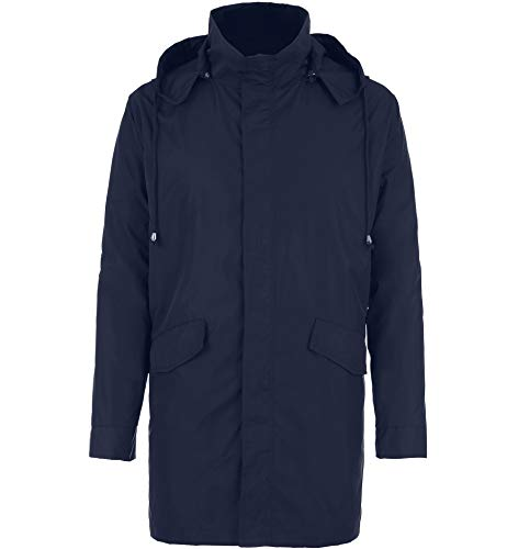 - BOSBARY Raincoats Men's Waterproof Lightweight Long Rain Jacket Outdoor Hooded Trench Navy Blue XXL