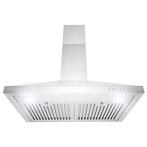 Golden Vantage Wall Mount Range Hood -30″ Stainless-Steel Kitchen Hood Fan- 3-Speed Professional Motor -Push Control Panel with LED Lighting – Pyramid Modern Design – Baffle Filters