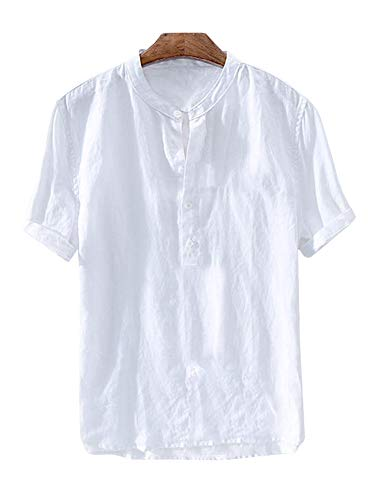 Gtealife Mens Linen Henley Shirt Casual Short Sleeve T Shirt Pullovers Tees Retro Frog Button Cotton Shirts Beach Tops (Large, E-White)