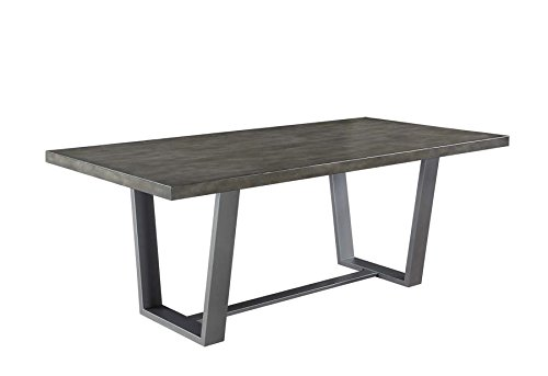 Hutchinson Dining Table with Composite Concrete Top Azure Green Swirl Grey
