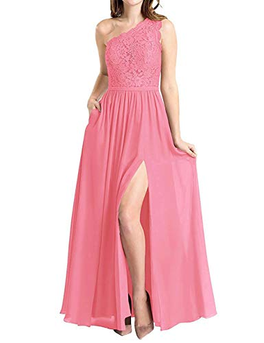 Molisa Women's One Shoulder Long Evening Dress Lace Chiffon Bridesmaid Dress Side Split Prom Gowns Coral Size 26 (One Dress Shoulder Coral)