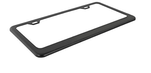 Ohuhu Matte Aluminum License Plate Frame with Black Screw Caps, 2Pcs 2 Holes Black Licenses Plates Frames, Car Licenses Plate Covers Holders for US Vehicles