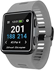 Shot Scope G3 GPS Watch - F/M/B + Hazard Distances - Free Apps - Color Screen - 36,000+ Pre Loaded Courses - No Subscriptions (Grey)