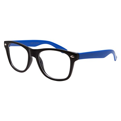 Kids Nerd Fake Glasses Clear Lens Colored Arms Geek Costume Children's (Age 3-10) Blue ()