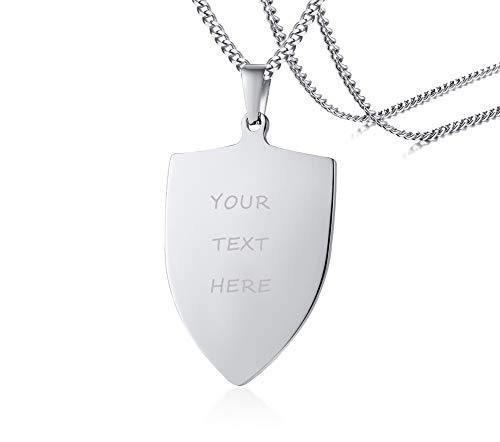 PJ Jewelry Mens Stainless Steel Custom Engraved Sheild Tag Pendant Necklace,Personalized Gift for -