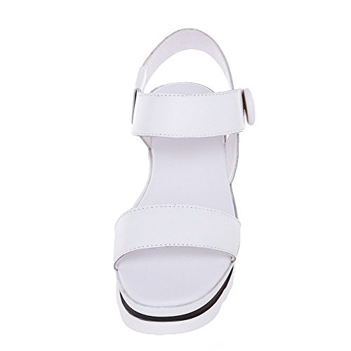 AmoonyFashion Womens Soft Material Open-Toe Kitten-Heels Hook-and-loop Solid Sandals White 7shUmr