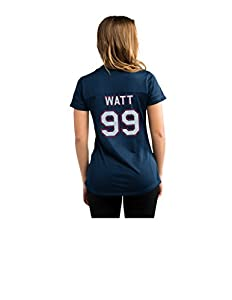 NFL Houston Texans J.J. Watt 99 Women's Short Sleeve V-Neck Synthetic Lace Up Fashion Tops