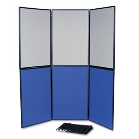 Quartet® ShowIt Six-Panel Display System, Fabric, Blue/Gray, Black PVC Frame by - Panel 6 Display System
