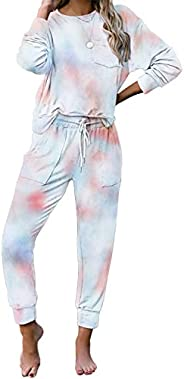 Jhsnjnr Womens Tie Dye Long Sleeve Pajamas Set Casual PJ Sets Long Nightwear Loungewear