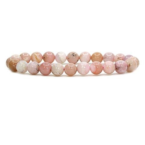 (Amandastone Natural Peruvian Pink Opal 8mm Round Beads Stretch Bracelet 7