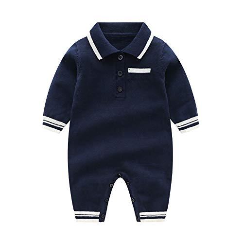JooNeng Baby Boy Knitted Romper Longsleeve Gentleman Autumn 1Pcs Jumpsuits,Navy Blue 9-12M