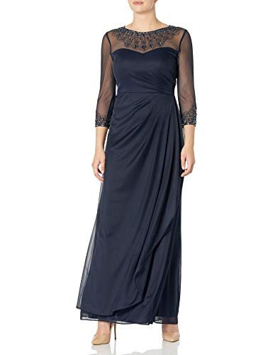 Alex Evenings Women's Long A Line Illusion Sweetheart Neck Dress (Petite and Regular)