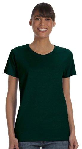 Sunset Green T-shirt (Gildan Women's Heavy Taped Neck Comfort Jersey T-Shirt, Forest Green,)