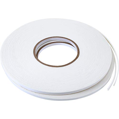 2 Rolls Double Sided Foam Tape White PE Foam Tape Sponge Soft Mounting Adhesive Tape (3/4 inch by 50 Feet)