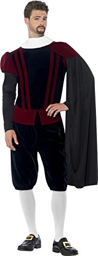Smiffy's Men's Tudor Lord Deluxe Costume, Top, pants, Cape and Neck Ruffle, Tales of England, Serious Fun, Size M, (Adult Tudor Costume)