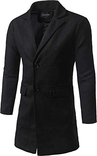 Fashion Costume À Slim Quotidien Simple Manches Blazer Fit Marciay Boutonnage Long Pour De coat Trench Manteau Veste Noir Homme Longues Tnwq8YO
