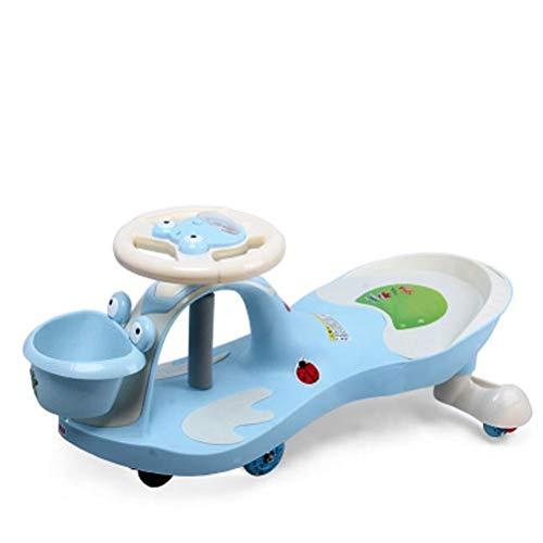 Blau Kinder Twist Auto,Swing Car Swivel Roller Wiggle Toyf Kinder Kinder Spaß Geschenk Auto für Kinder Fahrt Musik Lenkrad 1-7