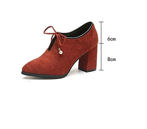 Épaisses Dentelle Bottes Noeud En 38 De Chaussures Courtes Deed Eu Mesdames Élégantes Avec Travail Pointu Ex8qIAYgw