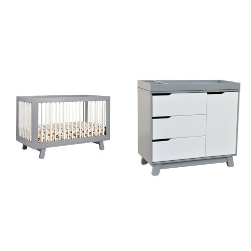 Mercer Daybed (babyletto Hudson 3-in-1 Convertible Crib with Toddler Rail, Grey/White and Hudson Changer Dresser, Grey/White)