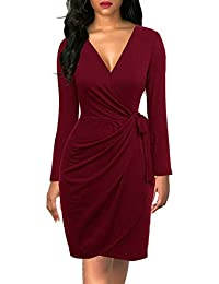 Berydress Women's Classic V-Neck Long Sleeve Casual Party Work Belted Knee-Length Sheath Faux Black Wrap Dress