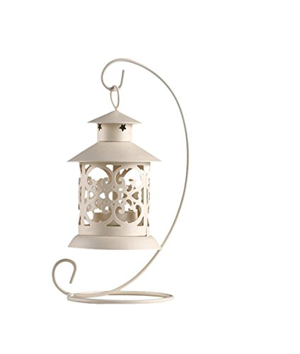 - Hosaire Metal Tealight Candle Holder Hollow Hanging Lanterns Creative Wedding Home Table Decoration Birdcage White