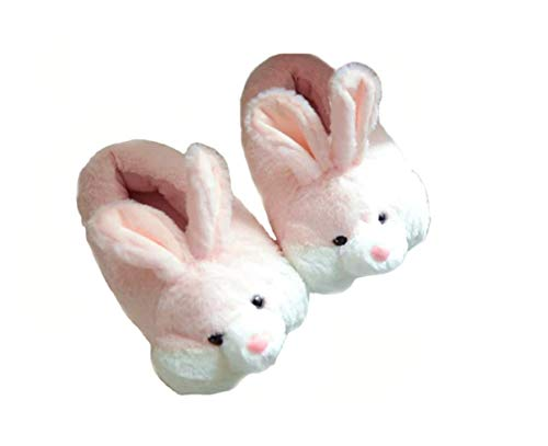 Cartoon Animal Rabbit Shoes Home Warm Shoes Neutral Soft Plush Home Slippers Rabbit Shoes (Pink)