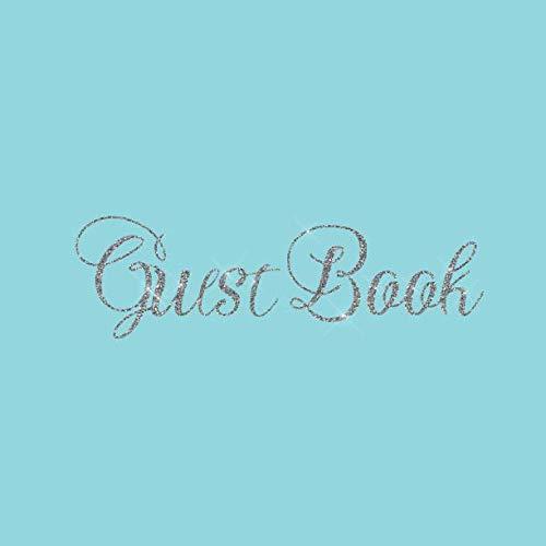 Guest Book: Aqua Pastel Baby Blue Heart Silver Wedding/Birthday/Graduation/Baby ... Log,Photo,Unique Elegant Ideas Sweet