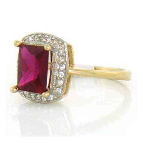 10k Yellow Gold Ruby Red CZ Ring Jewelry w CZ Accents