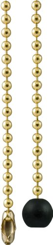 GE Beaded Chain with Wooden Ball, 3-Foot, Brass Finish 54433