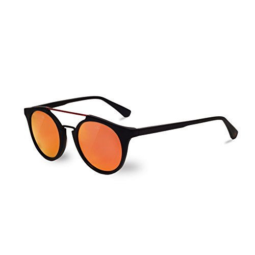 Vuarnet VL160200021130 Round Cable Car Sunglasses Matte Black Frame Pure Grey Red Mirror Flash Glass ()