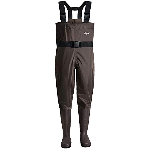 Oxyvan Bootfoot Chest Wader Waterproof Lightweight Fishing & Hunting Waders with Boots for Men and Women Brown M13