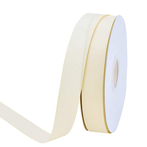 Ribest 1 inch 50 Yards Solid Grosgrain Ribbon Per Roll for DIY Hair Accessories Scrapbooking Gift Packaging Party Decoration Wedding Flowers ()