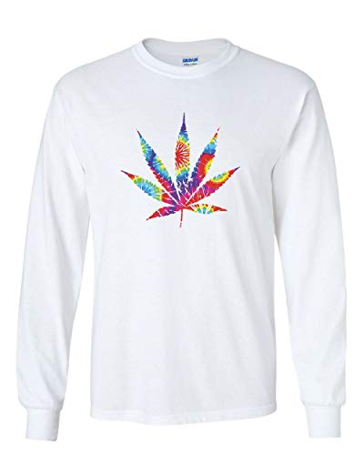 Tie Dye Pot Leaf Long Sleeve T-Shirt Smoking 420 Weed Cannabis Marijuana Tee White L