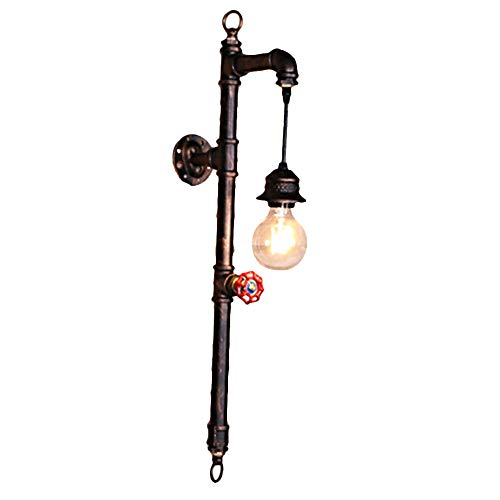 Water Pipe Wall Sconce, Motent Industrial Retro Single Head Wall Light Steam Punk Aged Iron Pipe Wall Lamp Shade for Resturant Corridor Balcony - 10.6 inches Width