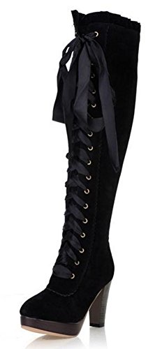 IDIFU Women's Fashion Platform High Block Heels Lace Up Faux Suede Knee High Boots Riding Booties Black 8 B(M) US