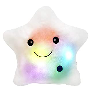 WEWILL Creative Twinkle Star Glowing LED Night Light Plush Pillows Stuffed Toys (White)