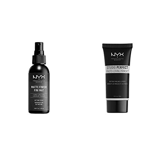 NYX PROFESSIONAL MAKEUP Make Up Setting Spray Matte Finish Bundle with Studio Perfect Primer, Clear (2 Items)