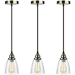 Pendant Light 3-Pack, Farmhouse Edison Hanging Lights Height Adjustable, SHINE HAI Mini Glass Pendant Lighting Fixture, Modern Industrial Vintage Lamp