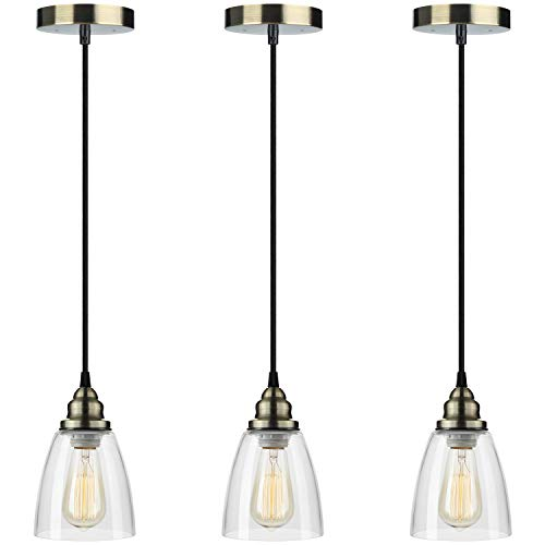 Pendant Light 3-Pack, Farmhouse Edison Hanging Lights