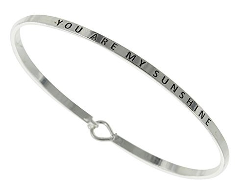 - Story Collection Women's You Are My Sunshine 3mm Message Silver Plated Brass Bangle Bracelet (Silver)